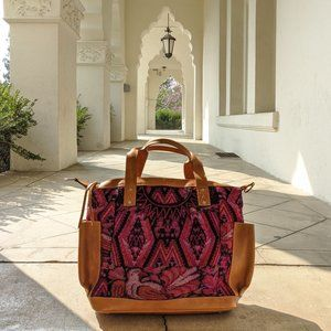 Huipil Leather Bag Artisan HanMade Guatemalan bag